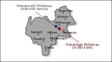 Karte Betriebsgebiet WVB+AEB Stolzenau©Kreisverband für Wasserwirtschaft Nienburg